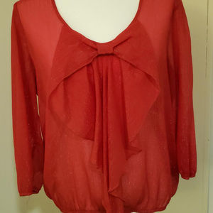 XL Cute Red Shiny Christmas or anytime blouse